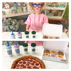 Surprises that I found buried inside a junk box that I found thrifting! (JunqueDollBoutique) Tags: grace kelly barbie food icee starbucks miniature pizza donuts thrift shop finds eat miniatures handmade krispy creme yummy one sixth scale dio diorama 16