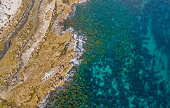 Shoreline palette (OzzRod) Tags: dji phantom3aadvanced quadcopter drone djifc300s207mmf28 aerial vertical rock platform sea shallows shoreline kelp algae marine aqua swanseaheads nsw
