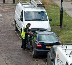 Sly Durham traffic wardens hang around cars waiting for the ticket to expire on parked cars .. (carsbusestrainsandtrucks) Tags: traffic wardens durham