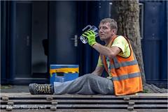 Craig (Fermat 48) Tags: craig albertsquare jazz festival waterjug workman workboots smile manchester uk hivizjacket highvisibilityvest duckboards canon eoscamera 7dmarkii