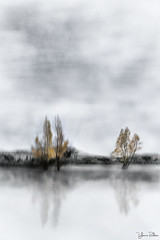 season of silence . . . (YvonneRaulston) Tags: tree trees simplistic texture blur atmospheric art abstract artistry colour creative dream day digitalart digital emotive emotion autumn fineartgrunge glow gold impressionist impact icm slowshutter nz new zealand light lake moody moments mysterious sony photoshopartistry peaceful reflection surreal soft together vintage water yvonneraulston