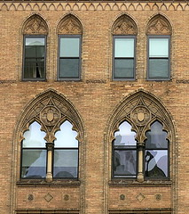 Gohic arches on Broadway at E. 11th Street, Manhattan (Spencer Means) Tags: architecture building office broadway east 11th street manhattan newyork city nyc ny window brick facade gothic neogothic dwwg explore