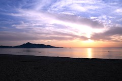 Sunrise Morning (petrk747) Tags: mallorca balearicislands spain sunset sunrise nature sea sky heaven cloud clouds mountain beach sand sandbeach water reflection mediterraneansea mediterranean
