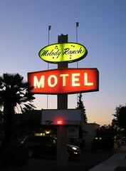 Melody Ranch Motel sign at Night - Paso Robles, Calif. (hmdavid) Tags: melodyranch motel pasorobles california night sign roadside advertising 1960s plastic