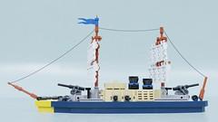 Warship (Sunder_59) Tags: lego moc render blender3d mecabricks ship navy sails vehicle military micro