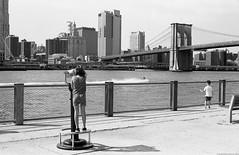 Brooklyn Bridge Park, NYC. (setpower1) Tags: newyorkcity nyc canona1 canonfd50mmf18 kodaktrix kodakd76 bw vintagefilmcamera 35mmfilm hoyak2 brooklynbridgepark