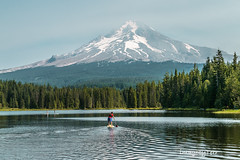 Trillium paddle (imagebyTerri) Tags: mthood mountain snow lake reflections sup paddleboarding watersports water blue firtrees green sky canon imagebyterri