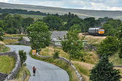 Walk & Ride (whosoever2) Tags: uk united kingdom gb great britain england nikon d7100 train railway railroad july 2018 settle carlisle selside gbrf class66 66722 6m37 arcow quarry pendleton yorkshire pennine roadf lane landscape
