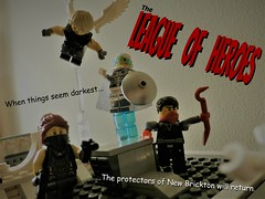 Out of the Darkness!!! (jgg3210) Tags: lego leagueofheroes loh superhero indestructible man moc minifigure minifigures silver sentry seraph trickshot trixie dare return
