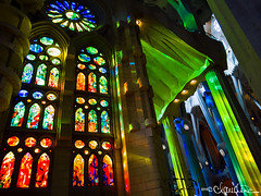 (by claudine) Tags: light16 light l16 capturedbylight barcelona spain summer sagrada família church religious landmark monument hand built artistic creative art sculpture architecture building unfinished colorful stained glass vibrant rainbow colors blue green red orange yellow cast casting columns catalan architect antoni gaudí temple flickrchallengegroup