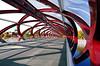 Peace Bridge. Calgary. (Bernard Spragg) Tags: red calgary bridge peacebridgecalgary lumux span bowriver canada