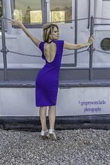 Rosie - nautical open back. (gregoryscottclarke photography) Tags: rosanneneddo museumofcanadianhistory pink black blue boat stone stairs pathway summer hat