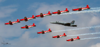 Swiss Air Force F/A 18 Hornet and PC7 Display team.