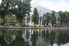 Reflections (lazy south's travels) Tags: paris france frence river canal industrial urban city building architecture car van water calm placid