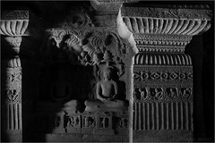 ornate, ellora (nevil zaveri (thank U for 15M views:)) Tags: zaveri ellora caves cave33 unesco world heritage maharashtra india photography photographer images photos blog stockimages photograph photographs rockcut basalt aetrip interior carving monochrome bw blackandwhite nevil rocks nevilzaveri stock photo closeup tirthankara meditation column design