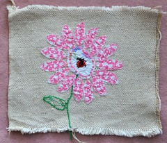 My first ever applique! (Molly Moult) Tags: sewing applique craft embroidery fabric canvas vintage school child