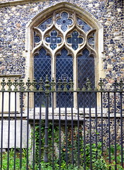 14th C. window with reticulated tracery, the Church of St. Mary, Mendlesham, Suffolk, England (Spencer Means) Tags: fence iron architecture church window flint tracery decorated reticulated mary mendlesham suffolk england eastanglia uk gb medieval