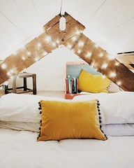 (crashtrophe) Tags: bedroom bed lighting fairylights sleep cosy loft attic home aesthetic