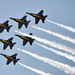 Blue Angels perform the Delta Roll over Biloxi Beach during the Blues over Biloxi Air Show.