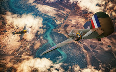 Air to Air (brian_stoddart) Tags: aircraft flying flight war fighting pointless terrain clouds ww2 raf luftwaffe