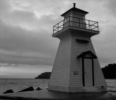 Lighthouse (nfocalypse) Tags: ilfordfp4 mamiyarb67 lighthouse lionshead fp4 120 brucetrail georgianbay