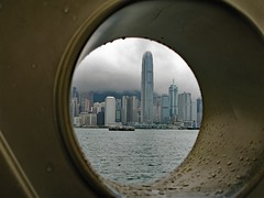 KB026cg (Tartarin2009) Tags: hongkong victoriaharbour waterfront cityscape circle clouds nuages cercles framing cadre skyscaper voyage travel canon powershot g9 imagination dark grey