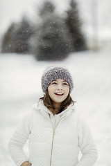 (Rebecca812) Tags: girl child snow winter hat happiness joy smile toothygrin wellbeing white sweet tween vest whiteonwhite trees snowing snowflakes canon people portrait rebeccanelson rebecca812
