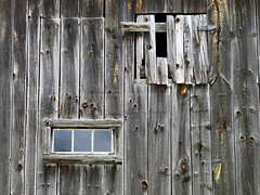 Barn, Quebec, Canada (duaneschermerhorn) Tags: barn building old decay abandoned wood glass window opening knots texture grain
