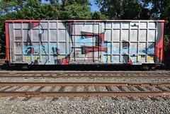 UPER (TheGraffitiHunters) Tags: graffiti graff spray paint street art colorful benching benched freight train tracks boxcar uper whole car