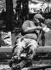(daveson47) Tags: candid mono monochrome bw blackandwhite eat park man street streetphoto sony sonya6300 a6300