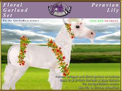 E-SparkleHorn-GarlandSet-PeruvianLily (honeyheart1) Tags: unicorn baby foal garland floral sparklehorn eliteequestrian horse sl secondlife