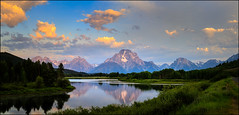 Return to Oxbow (PrevailingConditions) Tags: oxbow bend oxbowbend tetons tetonsnationalpark grandtetons morning sunrise reflection mountains trees clouds landscape panorama pano lake mountain water sky wood serene peaceful grass tree