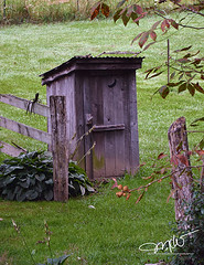 Outhouse (Mike Woodfin) Tags: mikewoodfin mikewoodfinphotography photo picture photography photograph photos photoshop pretty park porch canon contrast color crusty country cool nikon nature outhouse crapper toilet weathered water wood deserted decrepid decay delapidated dark door vintage antique rusty rust rural rustic gray green