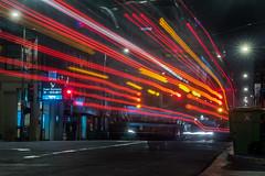 late night muni 8  to the bayshore (pbo31) Tags: sanfrancisco california nikon d810 night dark black color july summer 2018 boury pbo31 city urban lightstream motion traffic roadway chinatown stocktonstreet red muni bus motionblur