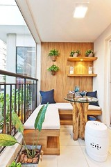 Small Balcony Decor with Wood-piece Table (kreatecube) Tags: apartmentdecor apartmentbalconyideas balconydecor