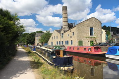 Canal Boats at Hebden Bridge, Yorkshire - 9th July 2018 (allan5819 (Allan McKever)) Tags: canal boat barge building water yorkshire hebdenbridge town uk england pennines path sky clouds blue chimney reflection trees