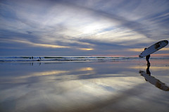 (Pedro dos Anjos) Tags: people surf clouds beach water sea sunset surfers reflections family yellow blue sky white nature portrait art sun light winter landscape seascape orange algarve portugal sony a77