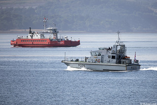The Western Ferries boat Sound of Shuna and the RN Archer-class patrol boat HMS Raider, P275; Firth of Clyde, Scotland