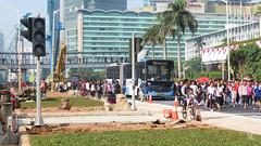 Pelican Crossing Under Construction (Gaz Art) Tags: bus bis bundaranhi jakarta plazaindonesia indonesia transjakarta brt busway carfreeday cfd sunday minggu scania skyscraper
