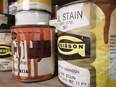 Handyman's dusty shelf (Thiophene_Guy) Tags: thiopheneguy originalworks olympustoughtg4 tg4 olympustg4 olympusstylustg4 tough paint stain gibson