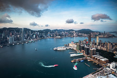 Hong Kong city aerial view with urban skyscrapers, View from Sky100, Hong Kong (Patrick Foto ;)) Tags: 100 aerial architecture asia background beautiful blue building business center china city cityscape day destination district downtown dusk finance harbor harbour hong hongkong island kong landmark landscape majestic metropolis modern office panorama panoramic peak port scene scenery sea sightseeing sky skyline skyscraper sunset tourism tower travel urban victoria view kowloon hk