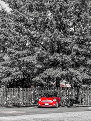 """Spent 24 hours / I need more hours with you"" ―Maroon 5 🎶 (anokarina) Tags: appleiphone8 rosehill virginia alexandria va mini cooper car red colorsplash instagram tree summer fence wooden parkinglot adobephotoshopexpress psmobile"