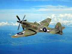 """1:72 Hawker P.1019 """"Sea Fury"""" Mk. XII, aircraft """"125-P (s/n JZ670)"""" of the Fleet Air Arm 1832 NAS; HMS Pioneer, Admiralty Islands, July 1945 (Whif/modified Airfix kit) (dizzyfugu) Tags: 172 hawker p1019 sea fury griffon engine la610 whif whatif fictional aviation aircraft conversion red roo resin modellbau dizzyfugu faa fleet air arm new guines wwii 1945 hms pioneer carrier fighter bomber"""