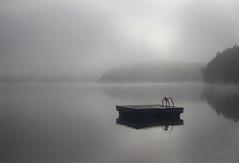 Early Morning Dip (Knarr Gallery) Tags: lake mist fog dock diving divingdock glass morning dawn sunrise water reflection silhouette knarrgallery knarrphotography knarrgallerycom darylknarr cottage huntsville ontario canada harplake muskoka
