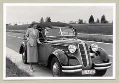 """BMW 326 Cabriolet (Vintage Cars & People) Tags: vintage classic black white """"blackwhite"""" sw photo foto photography automobile car cars motor vehicle antique auto bmw bmw326 cabriolet cabrio convertible autenrieth autobahn motorway highway thirties 1930s fashion ladyssuit femalesuit hat heels pumps"""