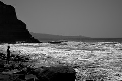 Silhouette of a woman admiring the ocean in Torrey Pines. (sarahann.holaday) Tags: shore beach monochrome white black silhouette mountain cliff cliffs waves ocean water sandiego torreypines california
