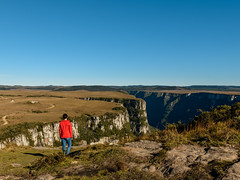 Livin' on the Edge (Doug Scortegagna) Tags: landscape landscapes girl standing person one alone hike trekking travel travelling trip adventure wild nature mountain mountains canyon canion southamerica brazil brasil riograndedosul fortaleza cambarádosul color colorfull sunny