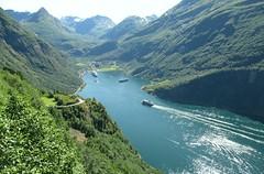 Fjord (White Pass1) Tags: norwayfjordnorwegianfjord trees cruiseships ships snowcappedmountains