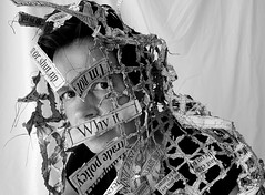 ways of wearing the news (Ines Seidel) Tags: news newspaper texture wearing wearableart paper nachrichten zeitung papier zeitungspapier fibreart photography identity portrait