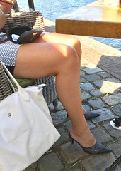 MyLeggyLady (MyLeggyLady) Tags: flashing public leather sex hotwife milf sexy secretary teasing minidress thighs cfm mules pumps stiletto legs heels